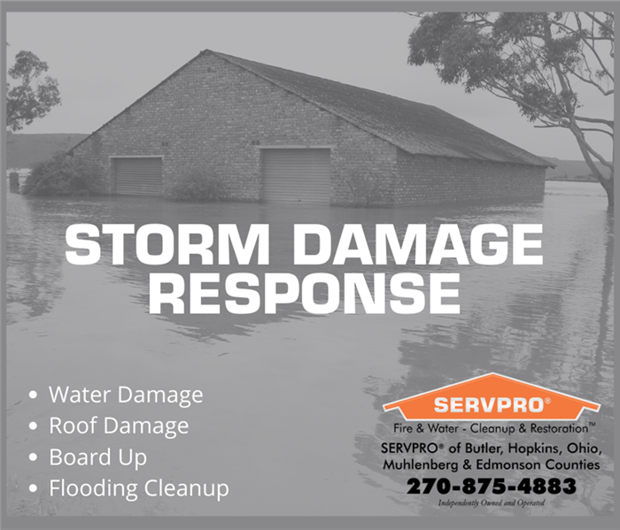 Building submerged in water from flooding. SERVPRO logo in lower right corner, list of services in lower right corner