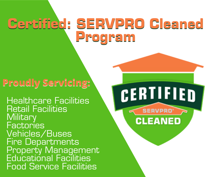 "Badge that says ""Certified: SERVPRO Cleaned"" along with businesses listed we have worked on through COVID-19"