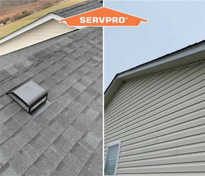 Two photos side by side of a roof with orange SERVPRO logo in the middle