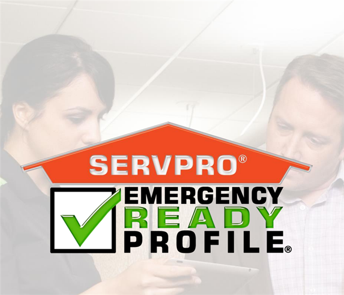 "Faded photo of female SERVPRO employee looking at tablet with man in suit. Orange SERVPRO logo with ""Emergency Ready Profile"""